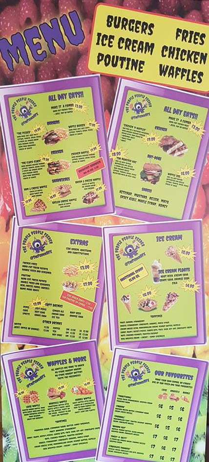 Purple People Feeder Menu
