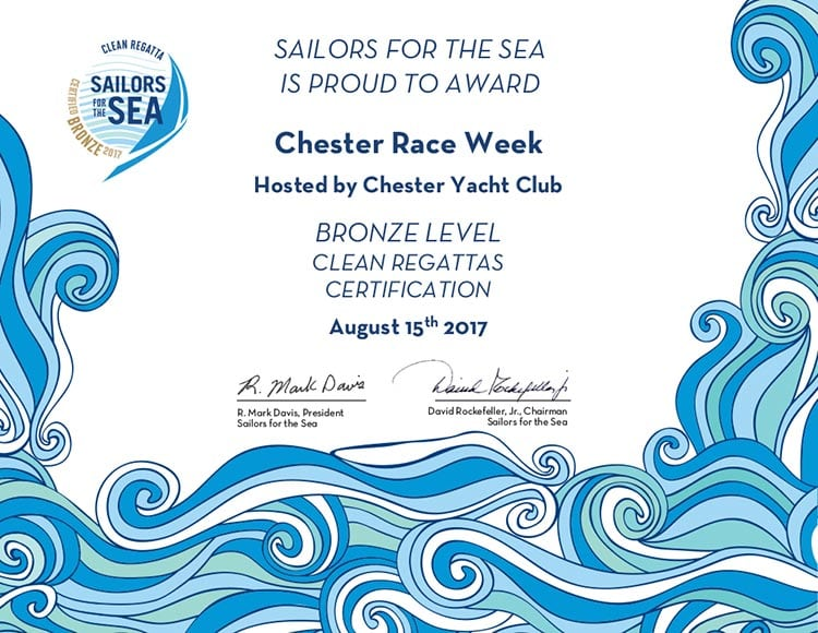 2017 Chester Race Week - Bronze Clean Regatta Certificate