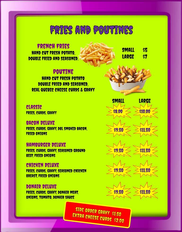 Purple People Feeder Menu - 02 - Fries and Poutine